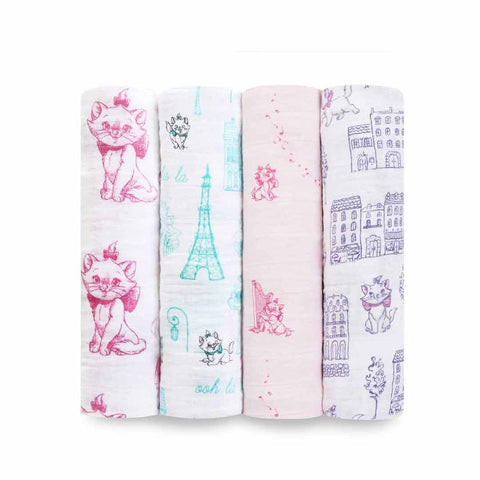 aden + anais Muslin Swaddles - Aristocats - 4 Pack-Swaddling Wraps-Aristocats- Natural Baby Shower