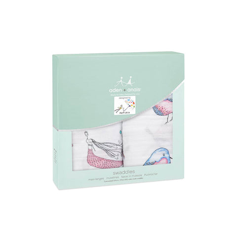 aden + anais Muslin Swaddles - Benita Bird - 2 Pack-Swaddling Wraps-Benita Bird- Natural Baby Shower