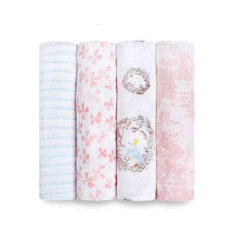 aden + anais Muslin Swaddles - Birdsong - 4 Pack-Swaddling Wraps-Birdsong- Natural Baby Shower
