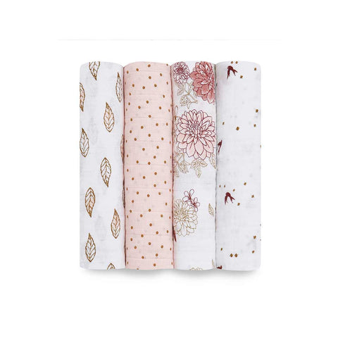 aden + anais Muslin Swaddles - Dahlia - 4 Pack-Swaddling Wraps- Natural Baby Shower