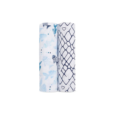 aden + anais Muslin Swaddles - Gone Fishing - 2 Pack-Swaddling Wraps-Gone Fishing- Natural Baby Shower