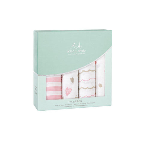 aden + anais Muslin Swaddles - Heart Breaker - 4 Pack-Swaddling Wraps-Heart Breaker- Natural Baby Shower