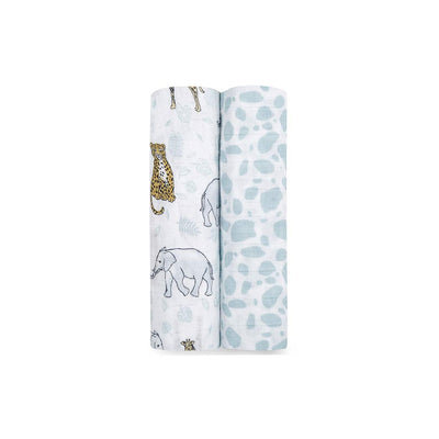 aden + anais Muslin Swaddles - Jungle - 2 Pack-Swaddling Wraps-Jungle- Natural Baby Shower