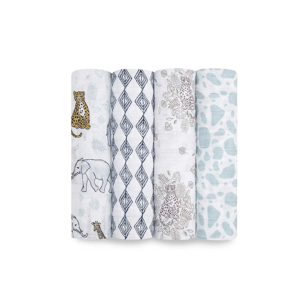 aden + anais Muslin Swaddles - Jungle - 4 Pack-Swaddling Wraps- Natural Baby Shower