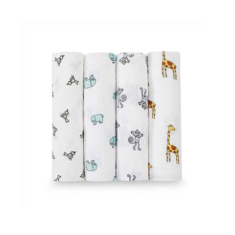 aden + anais Muslin Swaddles - Jungle Jam - 4 Pack-Swaddling Wraps-Jungle Jam- Natural Baby Shower