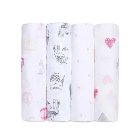 aden + anais Muslin Swaddles - Lovebird - 4 Pack-Swaddling Wraps-Lovebird- Natural Baby Shower