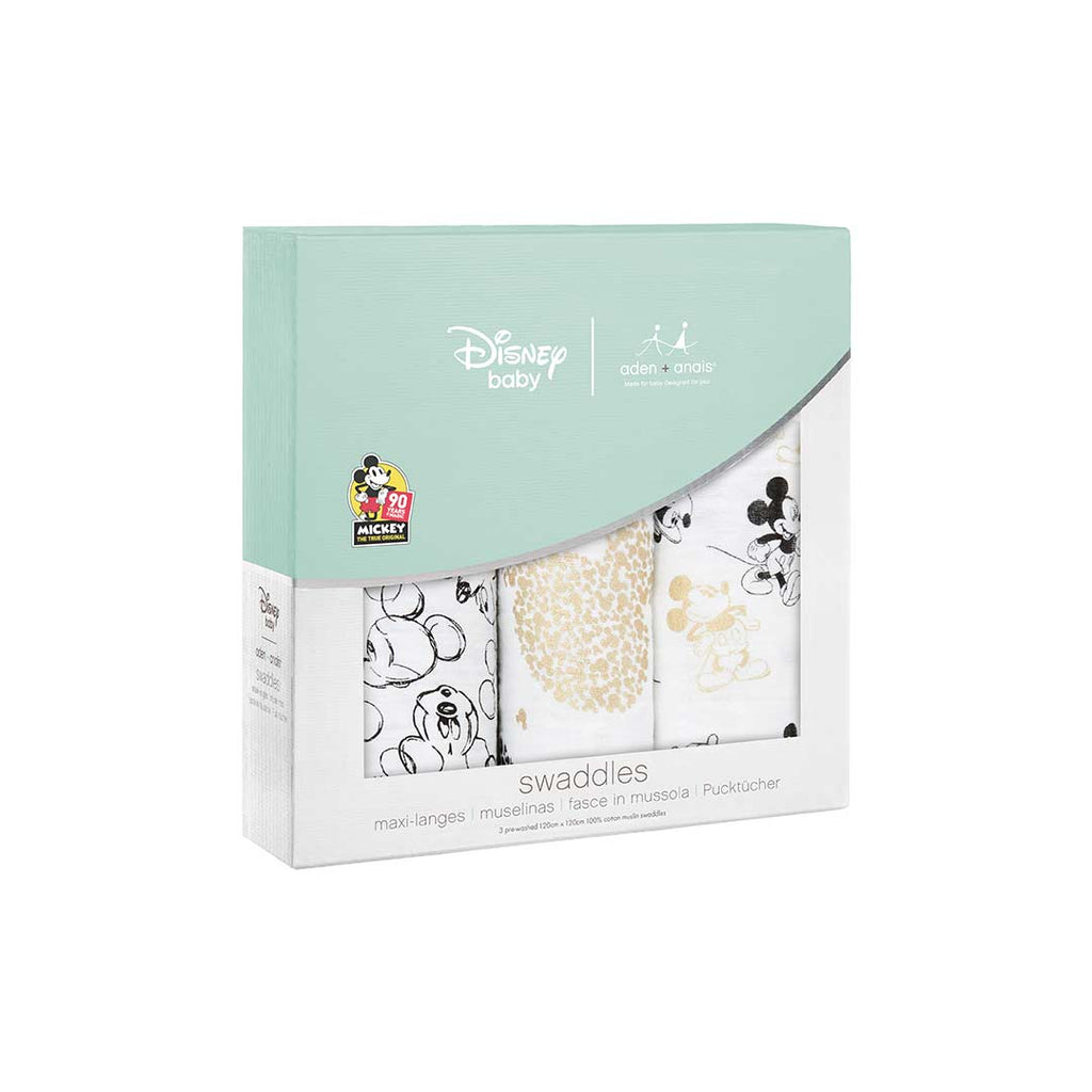 aden + anais Muslin Swaddles - Mickey's 90th - 3 Pack-Swaddling Wraps-Mickey's 90th- Natural Baby Shower
