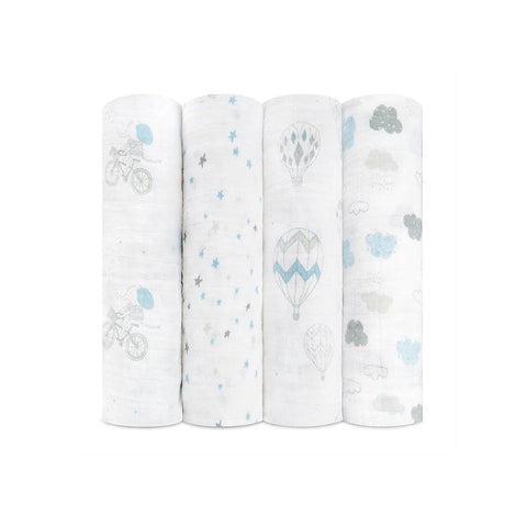 aden + anais Muslin Swaddles - Night Sky Reverie - 4 Pack-Swaddling Wraps-Night Sky Reverie- Natural Baby Shower