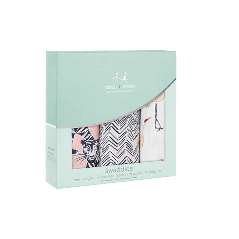 aden + anais Muslin Swaddles - Pacific Paradise - 3 Pack-Swaddling Wraps-Pacific Paradise- Natural Baby Shower