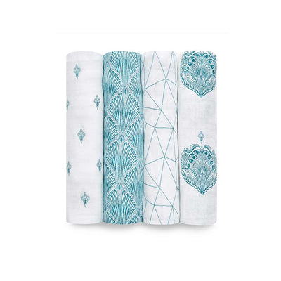 aden + anais Muslin Swaddles - Paisley - 4 Pack-Swaddling Wraps- Natural Baby Shower