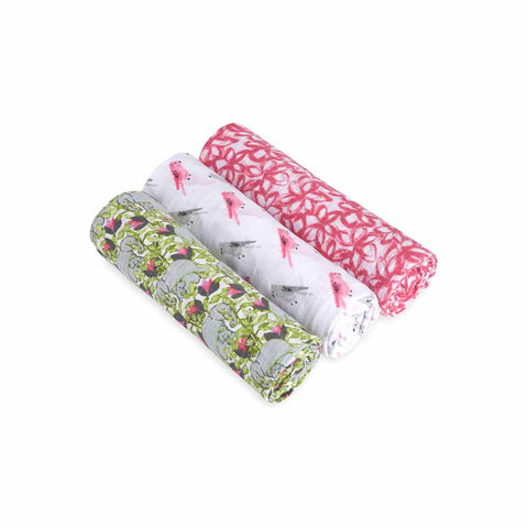 aden + anais Muslin Swaddles - Paradise Cove - 3 Pack-Swaddling Wraps-Paradise Cove- Natural Baby Shower