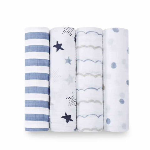 aden + anais Muslin Swaddles - Rock Star - 4 Pack-Swaddling Wraps-Rock Star- Natural Baby Shower