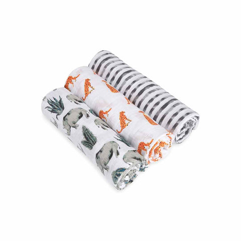 aden + anais Muslin Swaddles - Serengeti - 3 Pack-Swaddling Wraps-Serengeti- Natural Baby Shower