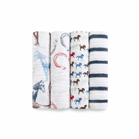 aden + anais Muslin Swaddles - Wild Horses - 4 Pack