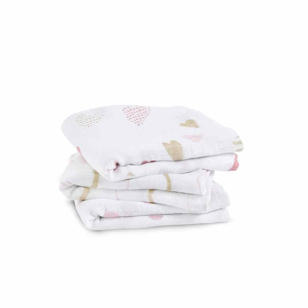 aden + anais Musy - Heart Breaker - 3 Pack-Muslin Squares-Heart Breaker- Natural Baby Shower