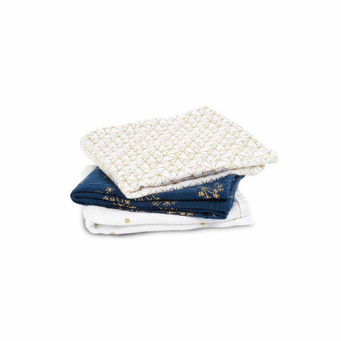 aden + anais Musy - Metallic Gold Deco - 3 Pack-Muslin Squares-Metallic Gold Deco- Natural Baby Shower