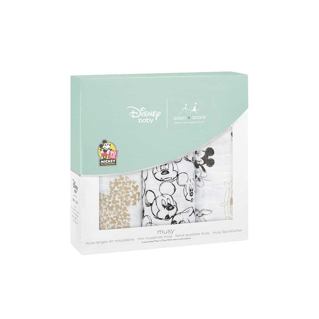 aden + anais Musy - Mickey's 90th - 3 Pack-Muslin Squares-Mickey's 90th- Natural Baby Shower