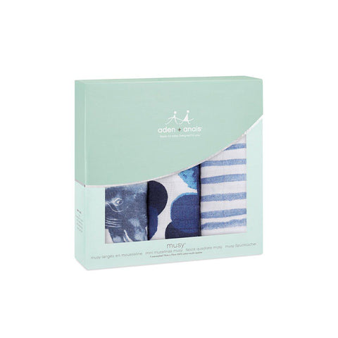 aden + anais Musy - Seafaring - 3 Pack-Muslin Squares-Seafaring- Natural Baby Shower