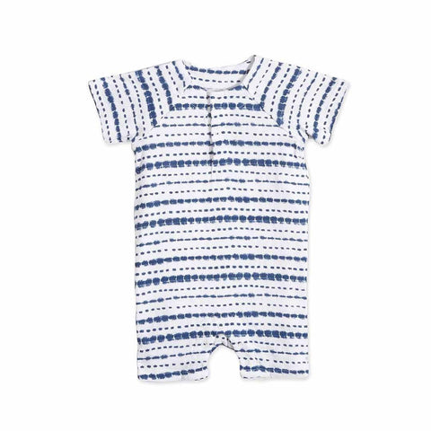 aden + anais Short Sleeve Henley One-Piece in Stripe Indigo Shibori