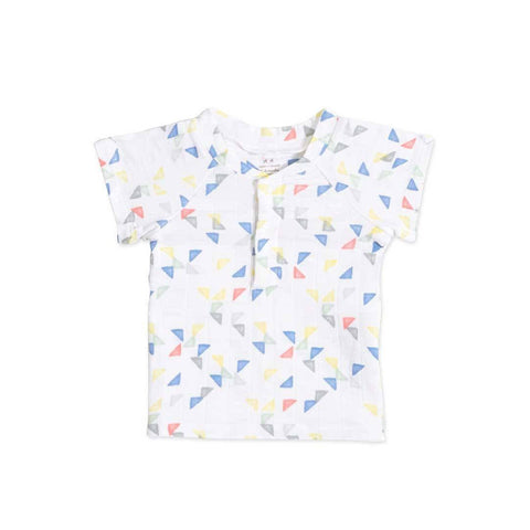 aden + anais Short Sleeve Henley Shirt Small Triangles