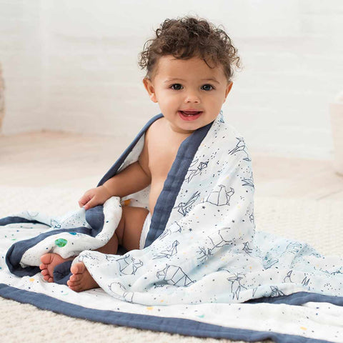aden + anais Silky Soft Dream Blanket - Stargaze-Blankets-Stargaze- Natural Baby Shower