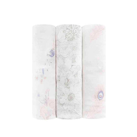 aden + anais Silky Soft Swaddles - Featherlight - 3 Pack-Swaddling Wraps-Featherlight- Natural Baby Shower