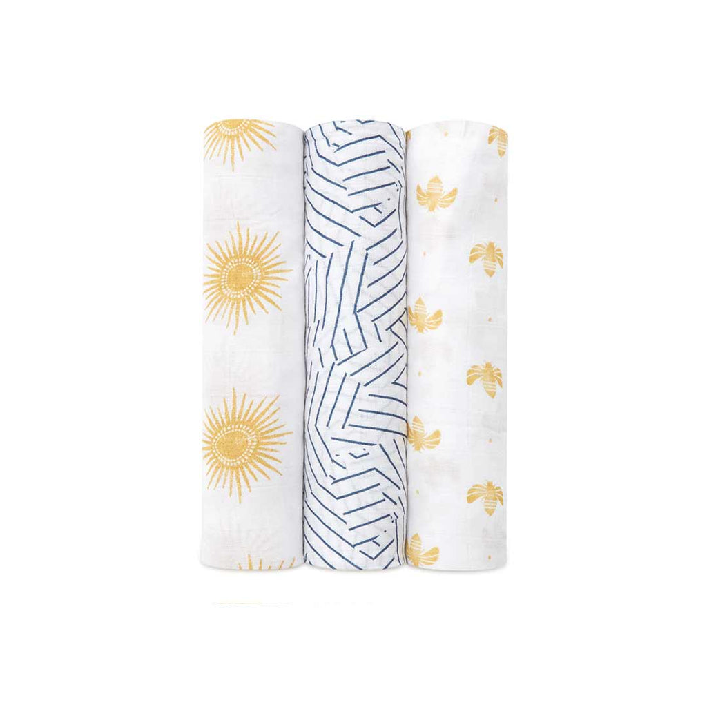 aden + anais Silky Soft Swaddles - Golden Sun - 3 Pack-Swaddling Wraps- Natural Baby Shower