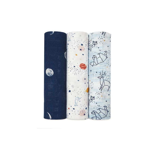 aden + anais Silky Soft Swaddles - Stargaze - 3 Pack-Swaddling Wraps-Stargaze- Natural Baby Shower