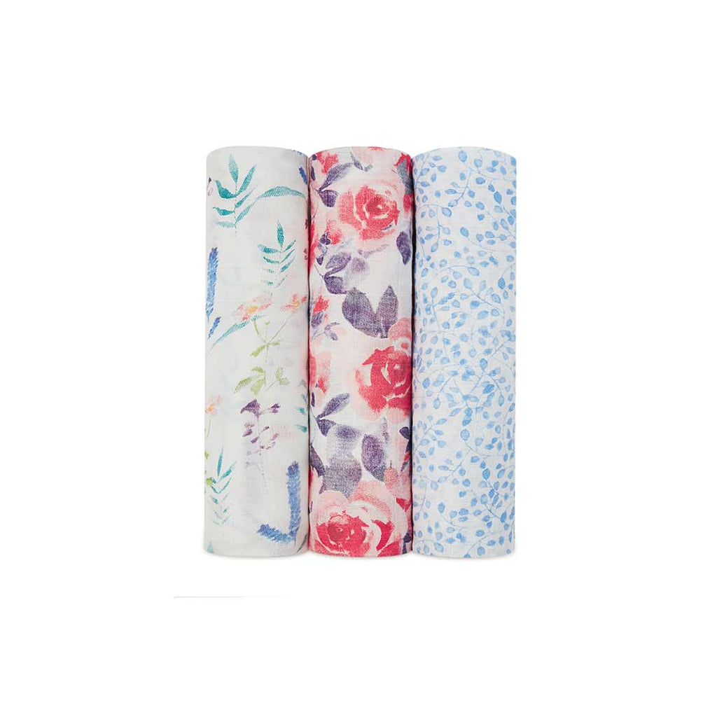 aden + anais Silky Soft Swaddles - Watercolour Garden- 3 Pack-Swaddling Wraps-Watercolour Garden- Natural Baby Shower