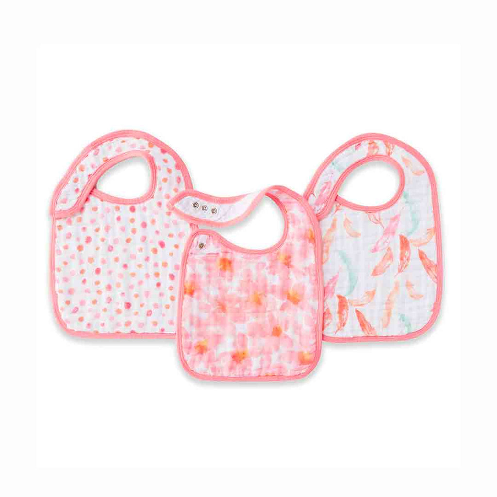 aden + anais Snap Bibs - Petal Blooms - 3 Pack-Bibs-Petal Blooms- Natural Baby Shower