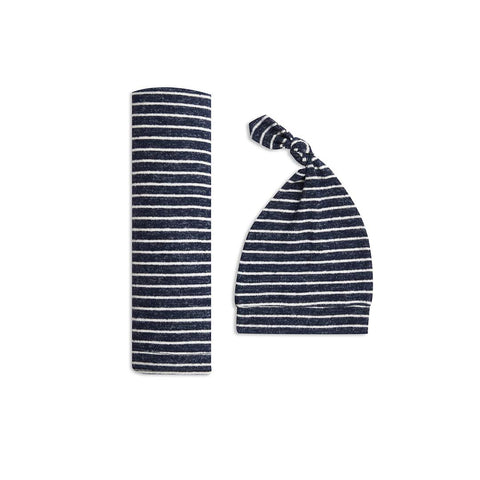 aden + anais Snuggle Knit Gift Set - Navy Stripe-Clothing Sets- Natural Baby Shower