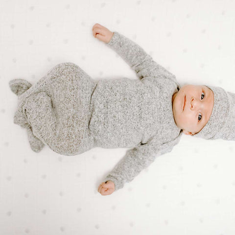 aden + anais Snuggle Knit Knotted Gown - Heather Grey-Sleep Gowns-0-3m-Heather Grey- Natural Baby Shower