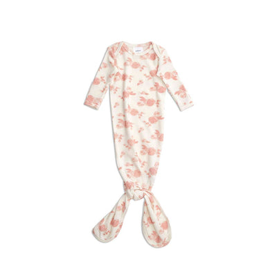 aden + anais Snuggle Knit Knotted Gown - Rosettes-Sleep Gowns-0-3m-Rosettes- Natural Baby Shower