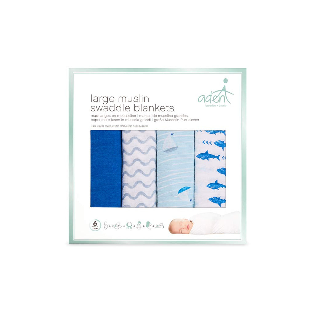 aden by aden + anais Swaddles - Making Waves - 4 Pack-Swaddling Wraps- Natural Baby Shower