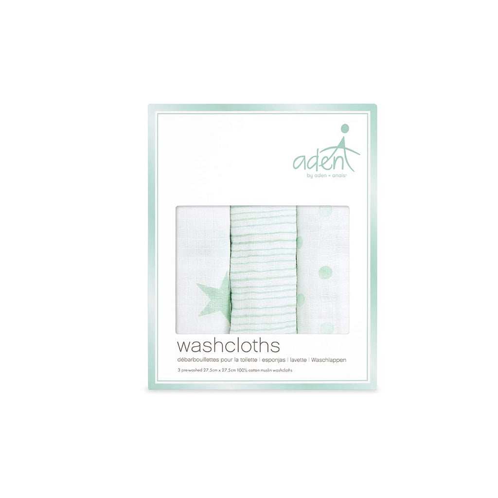 aden by aden + anais Washcloths - Dream - 3 Pack-Washcloths- Natural Baby Shower