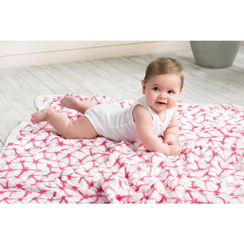 aden + anais Silky Soft Dream Blanket - Berry Shibori-Blankets-Berry Shibori- Natural Baby Shower
