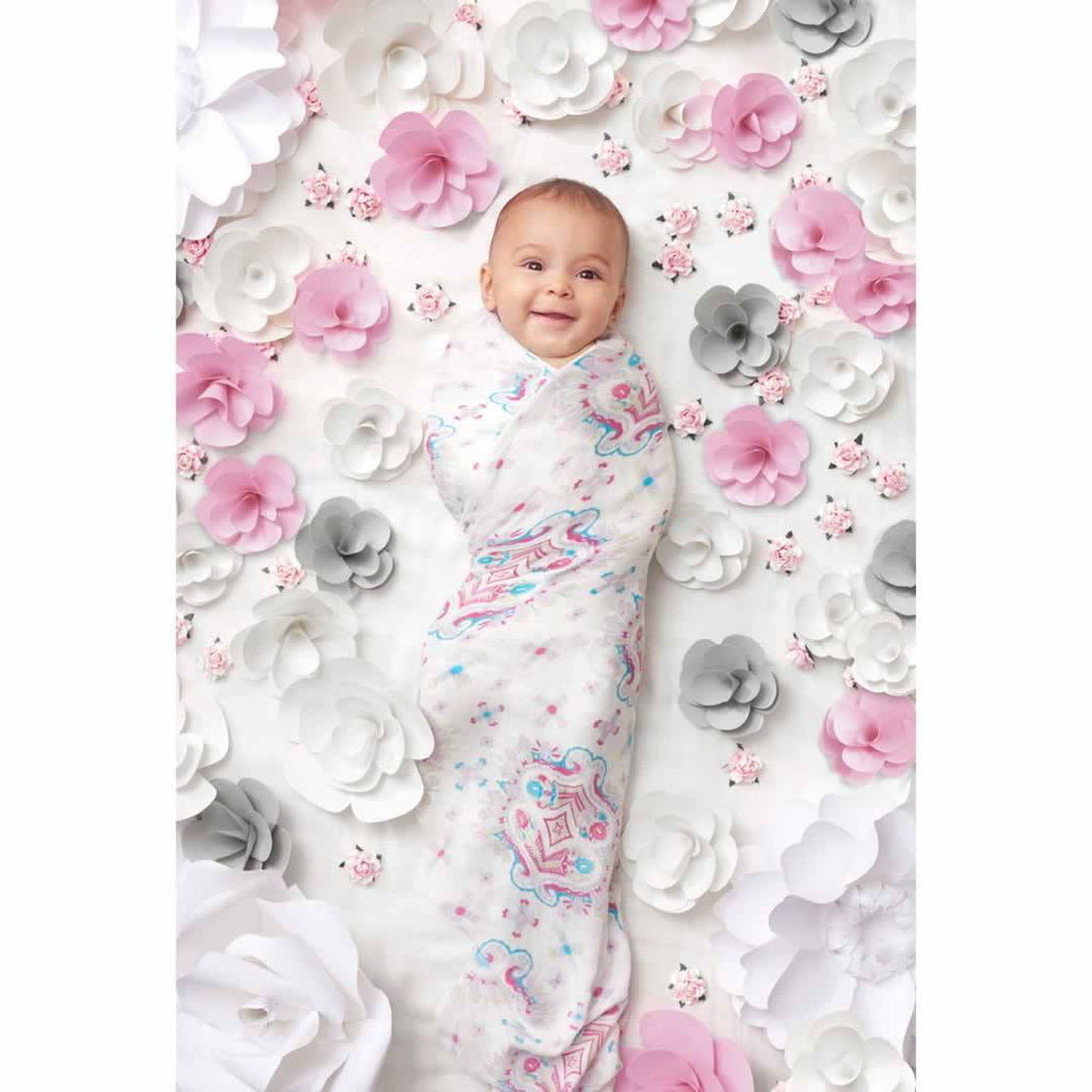 aden + anais Bamboo Swaddles - Flower Child - 3 Pack - Swaddling Wraps - Natural Baby Shower