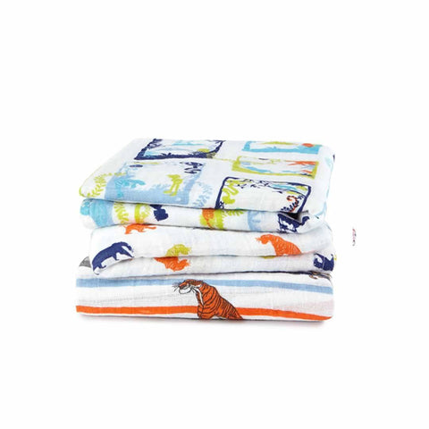 aden + anais Classic Musy - Jungle Book - 3 Pack - Muslin Squares - Natural Baby Shower