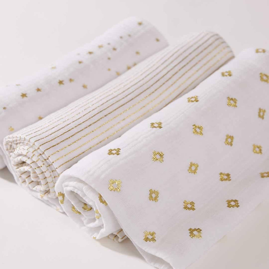 aden + anais Muslin Swaddles Metallic Gold - 3 Pack