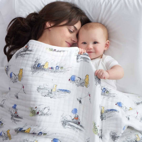 aden + anais Muslin Dream Blanket - Winnie The Pooh - Blankets - Natural Baby Shower