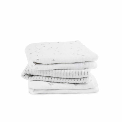 aden + anais Muslin Musy in Metallic Silver - 3 Pack