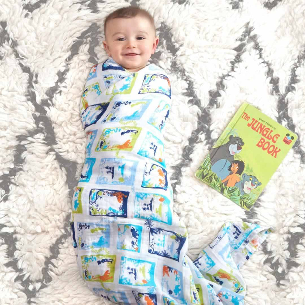 aden + anais Muslin Swaddles - Jungle Book - 4 Pack Lifestyle