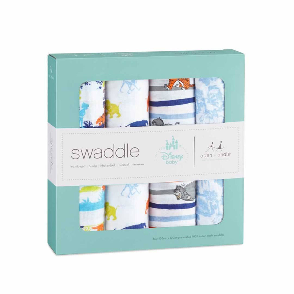 aden + anais Muslin Swaddles - Jungle Book - 4 Pack - Swaddling Wraps - Natural Baby Shower