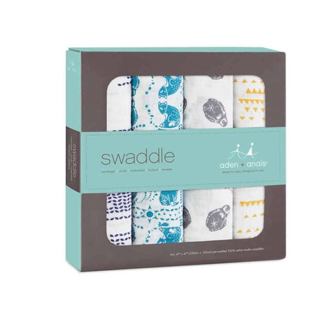 aden + anais Muslin Swaddles - Kindred - 4 Pack-Swaddling Wraps-Kindred- Natural Baby Shower