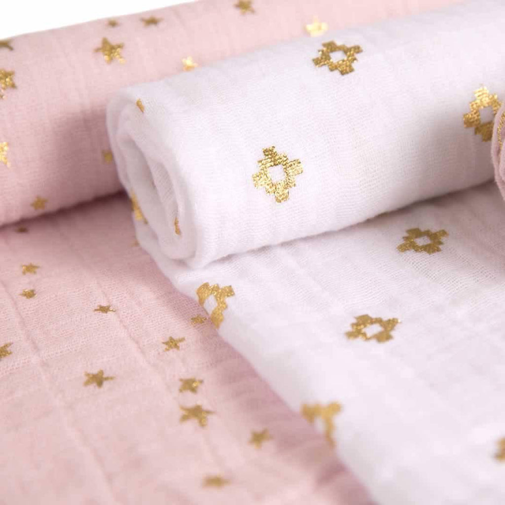 aden + anais Muslin Swaddles - Metallic Primrose - 3 Pack - Swaddling Wraps - Natural Baby Shower
