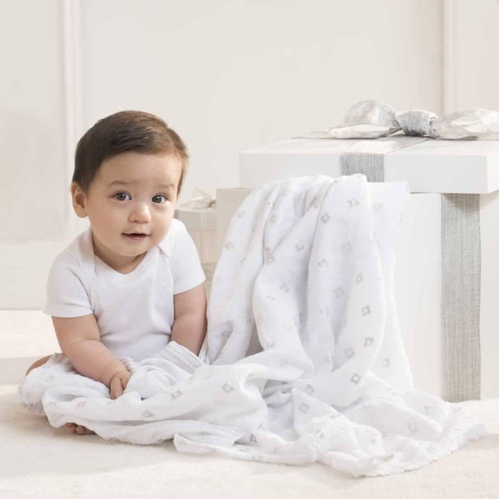 aden + anais Muslin Swaddles - Metallic Silver - 3 Pack Lifestyle