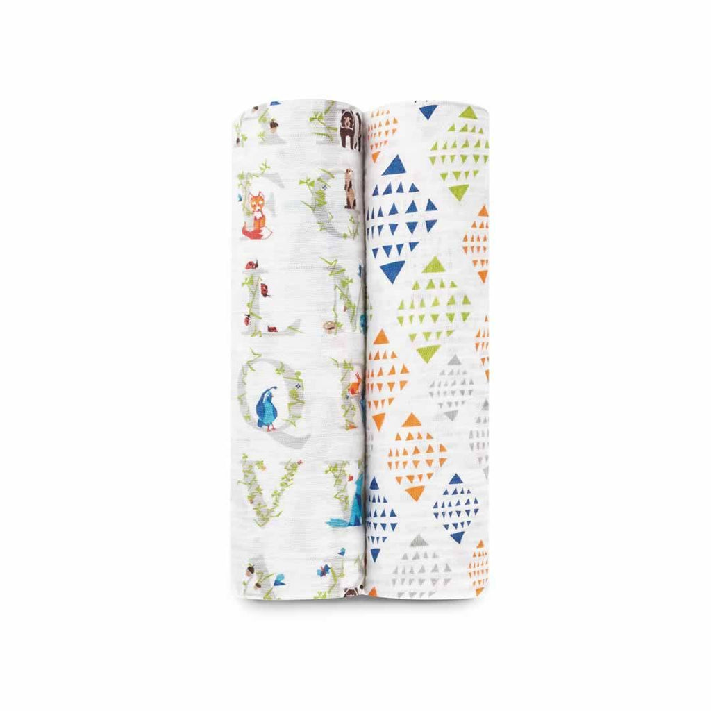 aden + anais Muslin Swaddles - Paper Tales - 2 Pack - Swaddling Wraps - Natural Baby Shower