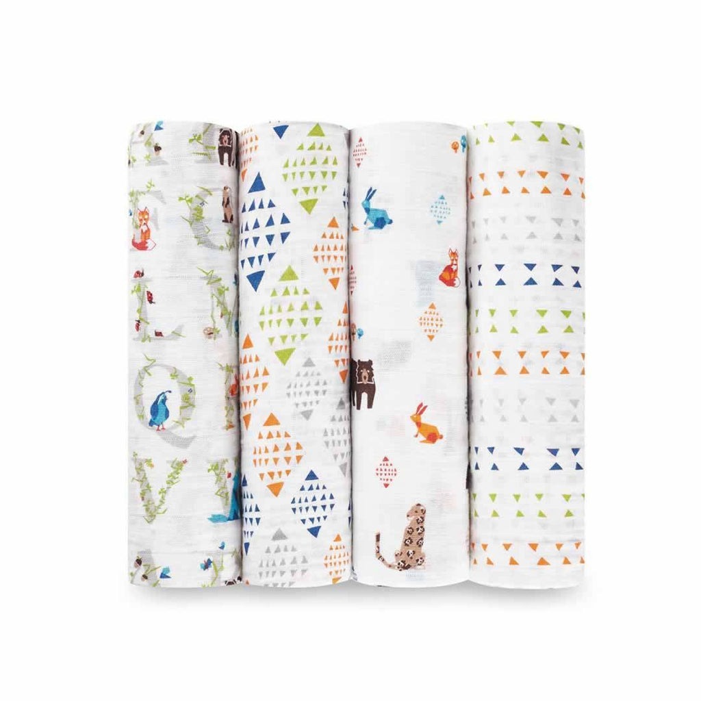 aden + anais Muslin Swaddles Paper Tales 4 Pack