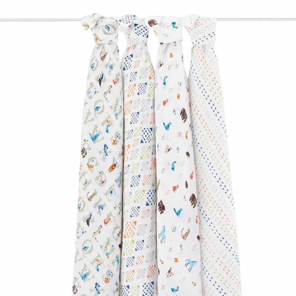 aden + anais Muslin Swaddles in Paper Tales - 4 Pack
