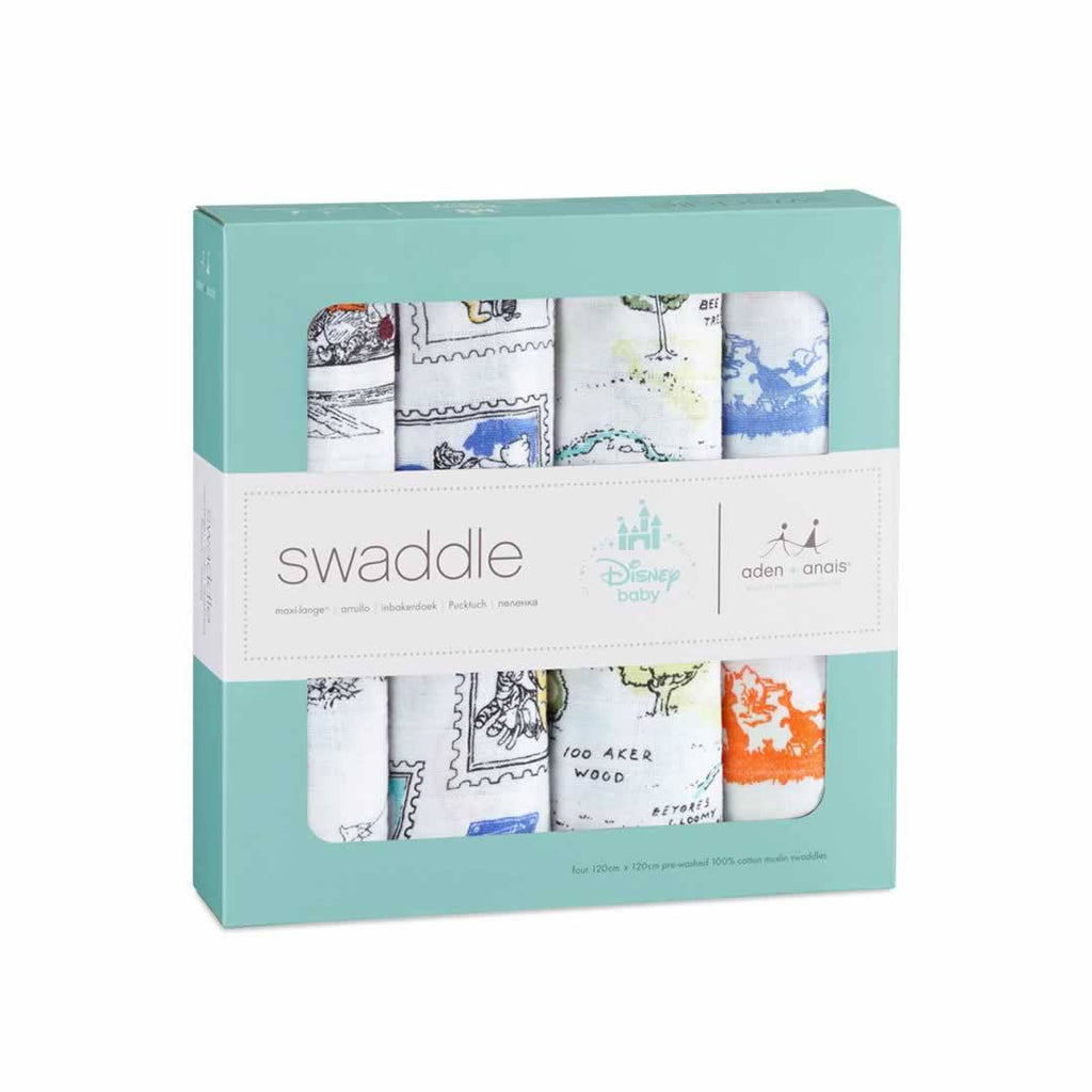 aden + anais Muslin Swaddles - Winnie The Pooh - 4 Pack - Swaddling Wraps - Natural Baby Shower